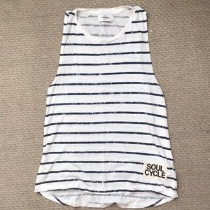 SoulCycle striped tank top, navy/white, medium